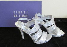 New Stuart Weitzman Silver Diamond Collection Crystals open toe Sandals  Size 6