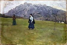 Oil Painting Attributed To Cesare Maggi of Two Women in a Mountainous Landscape