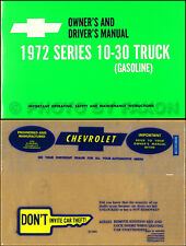 1972 Chevrolet Truck Owners Manual with Envelope 72 Chevy Pickup Blazer Suburban