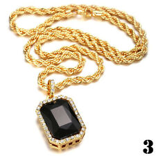 """Mens Gold Plated Iced Out Octagon Ruby Pendant With 3mm 24"""" Rope Chain Necklace"""