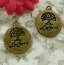 free ship 105 pieces bronze plated tree charms 23x19mm #2026