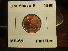 CANADA ONE CENT 1998 DOT Above 9  MS-+++++ !!!!!! FULL RED!