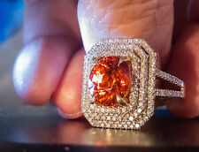 Stunning LARGE 4.90ct Mandarin Spessartite Garnet and .80 ct Diamond Ring