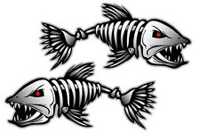 Bone Fish Sticker Hard Hat Decal Bones Skeleton Kayak Fishing Boat 35X15 x2