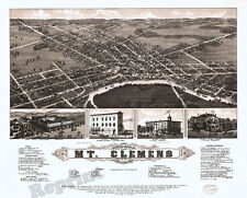 Wall Art   Old Map of Vintage Mt. Clemens Michigan   1881  11x14