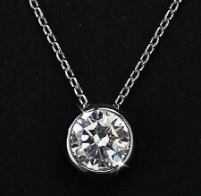 2Ct Platinum Plated Silver Solitaire Round Bezel  CZ Choker Pendant Necklace