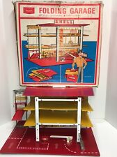 RARE FOLDING VINTAGE TOY SHELL SERVICE STATION & PARKING GARAGE w/ BOX