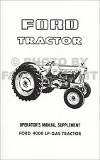 1965-1975 Ford LP-Gas 4000 Tractor Owners Manual Supplement Operator Guide Book