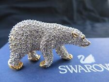 Swarovski Crystal Pave Swan Signed Polar Bear Brooch Pin Gold Tone Retired