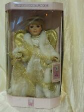Beautiful Blue Eye Porcelain Angel Doll in White and Gold Color Dress