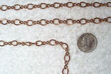 VINTAGE STUNNING SOLID BRASS LARGE 8MM TWISTED OPEN LINK JEWELRY CHAIN 6 FEET