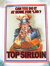 Vintage VERY RARE 1974 Sizzler Steak House Uncle Sam Poster Advertising Sirloin