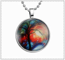 Fashion Glow in the Dark Star Tree Cabochon Tibet Silver Glass Pendant Necklace