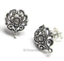 2x Bali STERLING SILVER FLOWER Stud earrings loop post