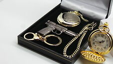 Signed Marlon Brando Godfather Pocket Watch Gun Keyring Gift Set 24k Gold Clad