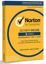 Norton Security Deluxe 3.0 - 2016 - 5 Geräte - 1 Jahr DE (PC/Mac/Tablet/Handy)