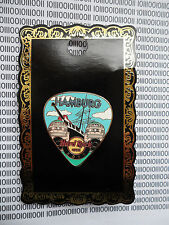 Hard Rock Cafe Hamburg 2012 - Postcard Guitar Pick with Port Few Pin on Card