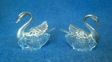 Vintage Swan Salt and Pepper Cellars, Glass body, Silverplate Head and Wings