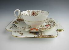 Royal Grafton China (Oriental Floral Scene) Cup & Saucer Set and Plate Trio EX.