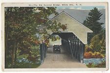 Old Covered Bridge, White Mountains New Hampshire, Antique Car Vintage Postcard