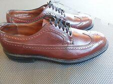 Hanover Mens 10.5 C Vintage Brown Pebble Grain Wing Tips Shoes USA