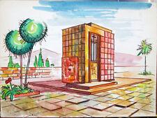 Acquerello '900 su carta Watercolor Architettura futurista cubista razionale-77