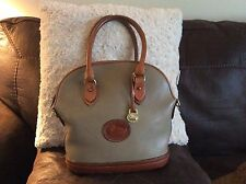 Vintage Dooney & Bourke Taupe AWL Leather Classic Norfolk Domed Satchel Handbag