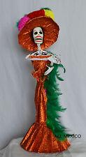 Catrina Mexican Doll Day of Dead Paper Mache Dia de los Muertos Folk Art 90140 L