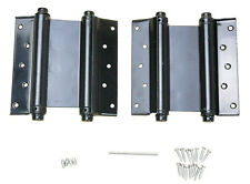 "(2) 4"" Adjustable Double Action Spring Hinge Saloon Swing Door w Screws Black"