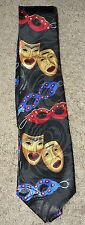 THEATRE MASKS Tragedy & Comedy Theme Man's Neck Tie, Mardi Gras, Large