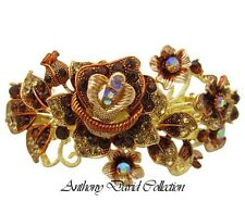 Bronze Crystal Gold Metal Hair Accessory Barrette Clip with Swarovski Crystals