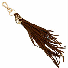 Women's Gold Tree of Life Brown Suede Tassel Key Chain / Bag Charm