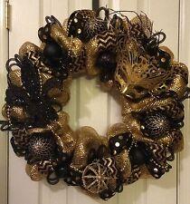 MARDI GRAS NEW ORLEANS GOLD AND BLACK FLEUR DE LIS CROWN WREATH~FREE SHIPPING!!