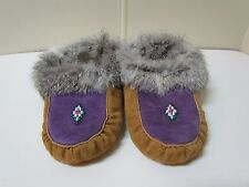 PURPLE & TAN, NATIVE AMERICAN MOCCASINS, 9 INCHES WITH DIAMOND BEADWORK