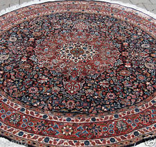 TOP QUALITY PERSIAN HAND-KNOTTED ROUNED CARPET GHOOM NATURAL SILK SIZE:182X182CM