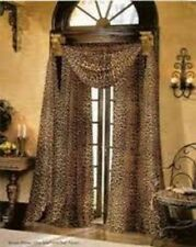 "3PC LEOPARD BROWN PRINTED 1 SCARF & 2 SHEERS WINDOW PANELS CURTAINS 55""X95"""