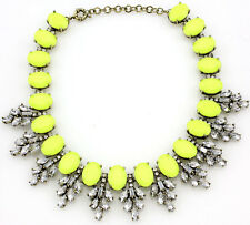 New Design Lady Bib Statement Gorgeous Neon yellow Crystal necklace collar Hot