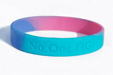 "Teal/Pink/Blue Thyroid Cancer Awareness Wristband - Adult Sized (7 3/4"")"