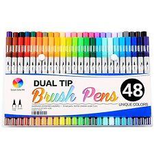 Smart Color Art Dual Tip Brush Pens with Fineliner Tip 0.4 Art Marker NEW