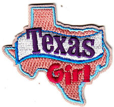 """TEXAS  GIRL""- Iron On Patch/Southwest, State Shape/Words, Names, Sayings"