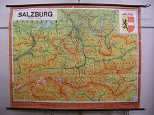 Schulwandkarte Wandkarte Karte Salzburg Mozart QHL Österreich 100T 1975 201x158