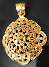 Thai Baht 22K 24K Indian Yellow Gold Plated Flower Pendant Rope Chain Necklace