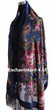 Handmade Elegant 100% Silk Burnout Velvet Vintage Floral Scarf Wrap, Navy Blue