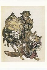 Fox with rifle dogs hunter rare old russian soviet postcard by V. Slauk