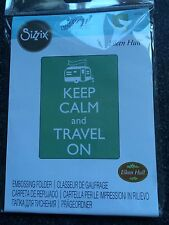 SIZZIX EMBOSSING FOLDER A2 LARGE KEEP CALM AND TRAVEL ON CARAVAN FLAG NEW SEALED
