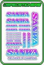 SANWA RC RADIO CONTROL STICKERS MT4 M12 SERVO RX TX CAR BUGGY ELEC BLUE PINK W