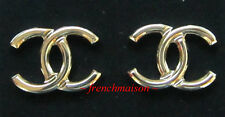 AUTHENTIC CHANEL CC Logo Earrings Classic Gold Shiny Large Stud 2017 Spring New