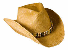 Cowboy Hat Natural Straw Beaded Trim Vintage/ Distressed Flexi Fit Sweatband