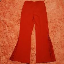 Faust Pantalon Sz 4 Red Dress Pants Lace Button Legs Made in France Sexy Hot
