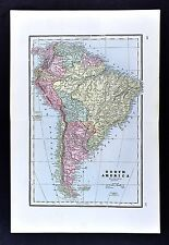 1891 Watson Atlas Map - South America Brazil Rio de Janiero Peru Argentina Chile